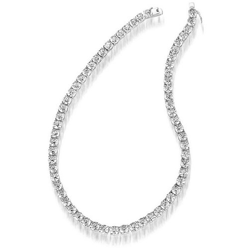 Sterling Silver Rhodium Plated 5mm Round Tennis Necklace TN-NEC3035