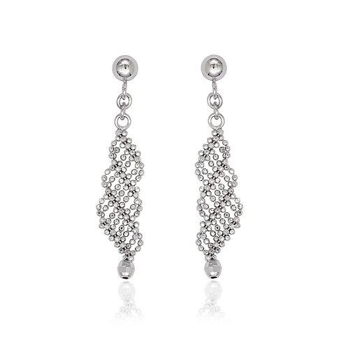 Sterling Silver Loose Double Twisted Diamond Cut Bead Earrings CL-A-2231