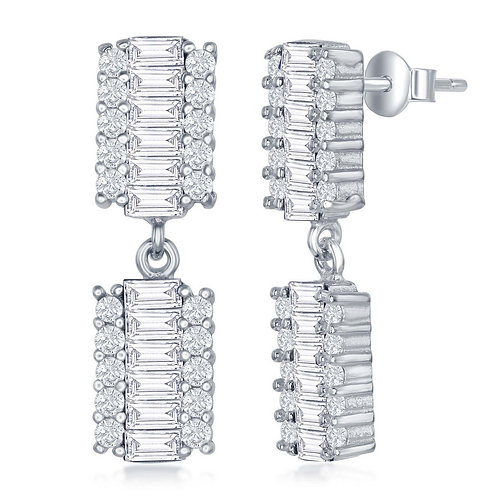 Sterling Silver Double Rectangle Baguette Earrings CL-D-6854