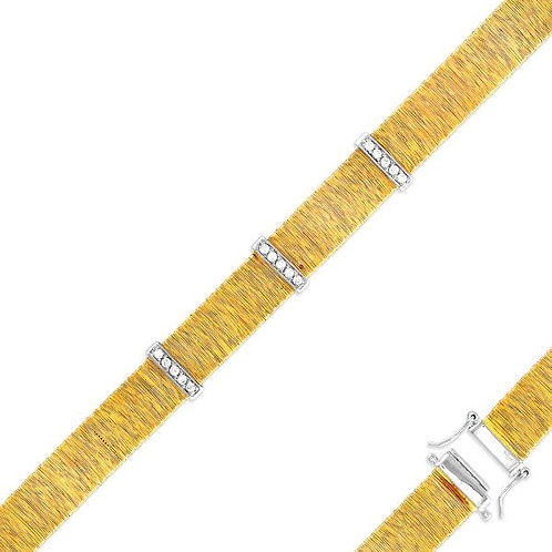 GOLD PLATED BRACELET WITH CLEAR CZ T-5487