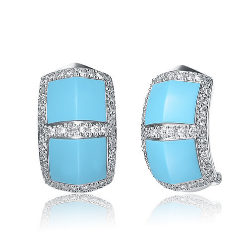 Polished Turquoise Pave` Style Earrings CSE-EAR829-T