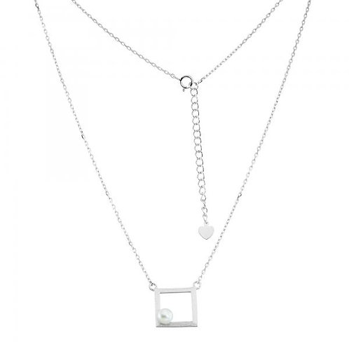 STERLING SILVER OPEN SQUARE W/ FWP NECKLACE M-5318