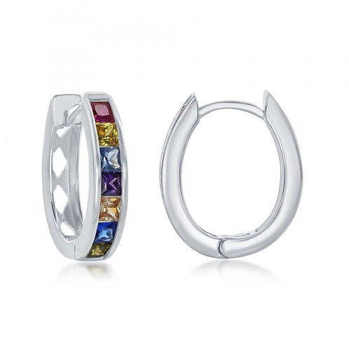 Sterling Silver Chanel-Set Rainbow Oval Hoops CSE-D-7089