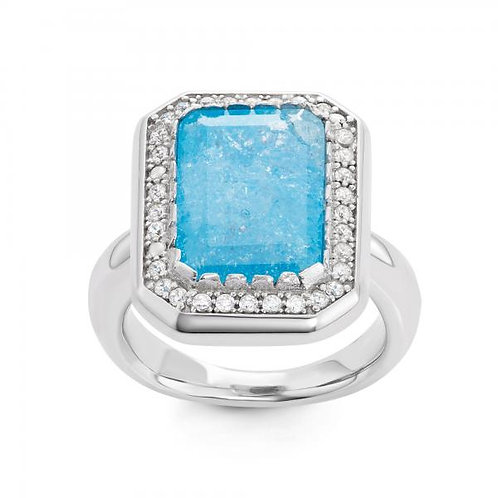 STERLING SILVER RECTANGLE BLUE ICE W/ CZ RING W-1442