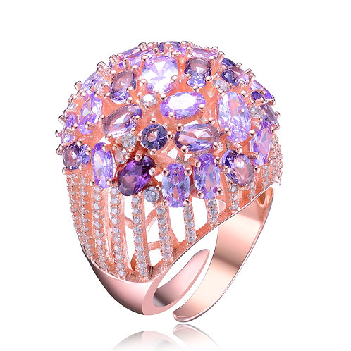 Rose Gold Plated Purple Accent Cluster Ring CSR-R9905-A-ROSE
