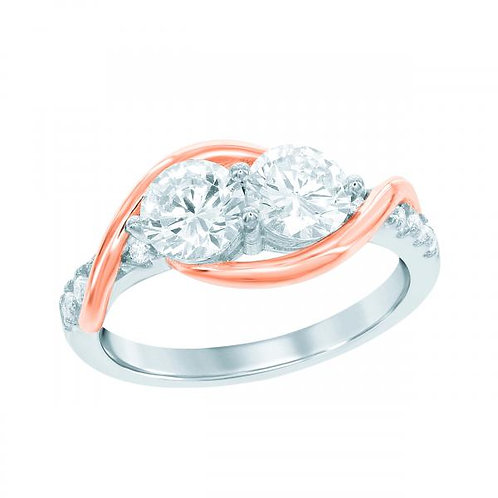 """STERLING SILVER & ROSE PLATED """"US2GETHER"""" TWO-STONE CZ RING W-1695"""