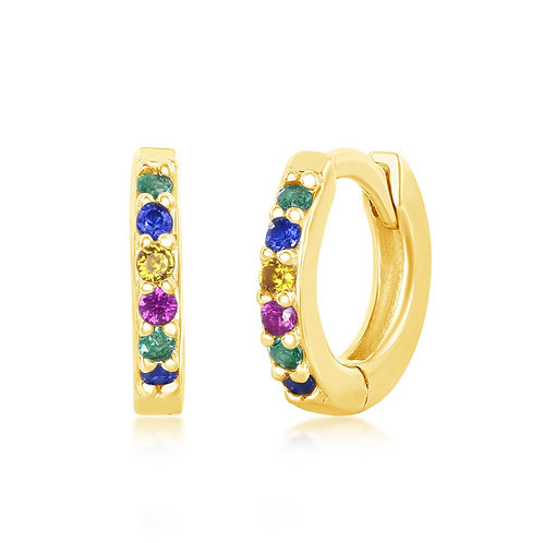 Sterling Silver Gold Plated Rainbow Small Huggie Hoop Earrings CL-D-7132-GP