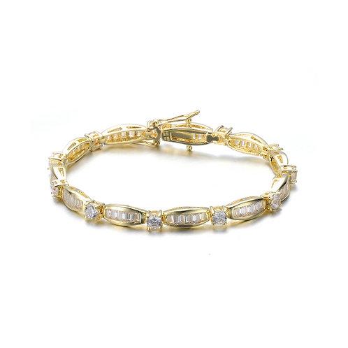 Sterling Silver Gold Toned Baguette Bracelet TCB-br2067-gp