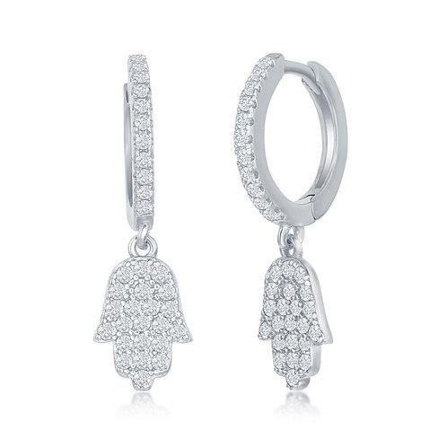 Sterling Silver Small Huggie Hamsa Earrings CSE-D-7309