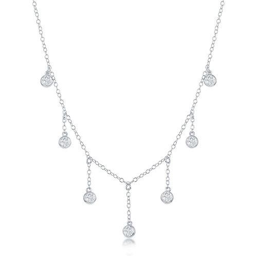 Sterling Silver Dangling Bezel-Set Necklace CSN-M-6086