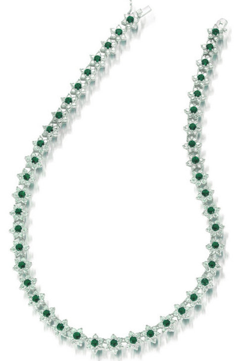 C.Z. Sterling Silver Rhodium Plated Emerald Flower Necklace NEC642-e