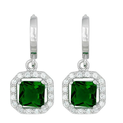SQUARE DANGLING GREEN CZ MICRO PAVE EARRINGS TCE-D-5247