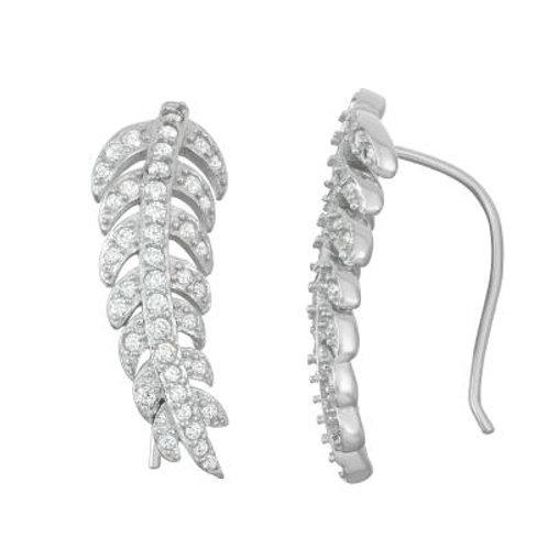 Sterling Silver Leaf Climber Earrings CSE-D-6003