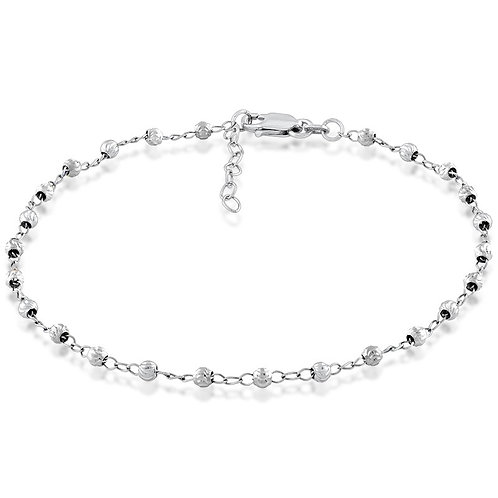 Sterling Silver Diamond Cut Bead Anklet ANK-R-9102