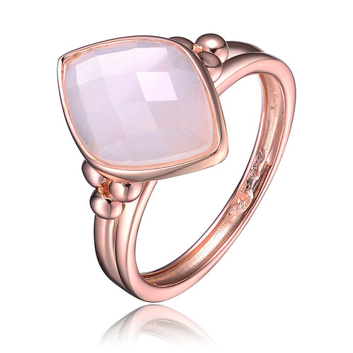 Rose Gold Overlay White Cubic Zirconia Diamond Shape Ring R3261-WC