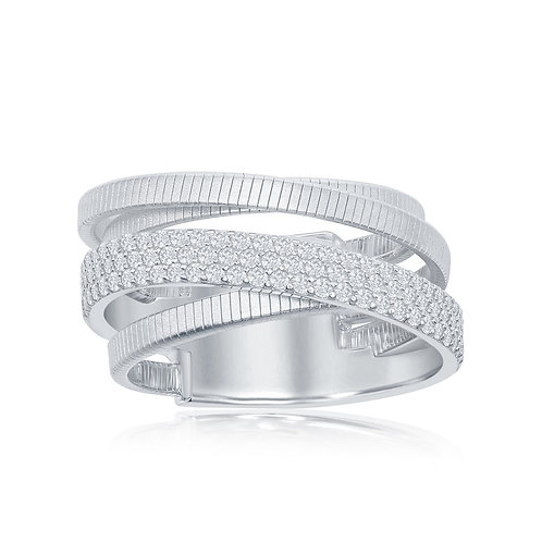 Sterling Silver Designer Ring, Set with Bonded with Platinium CSR-W-2025