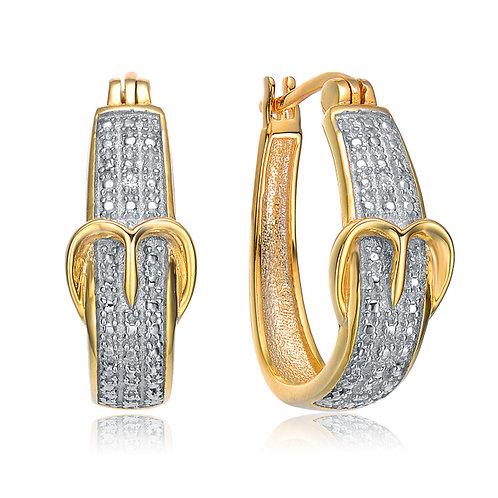 Gold Plated Cubic Zirconia Buckle Earrings EAR9310