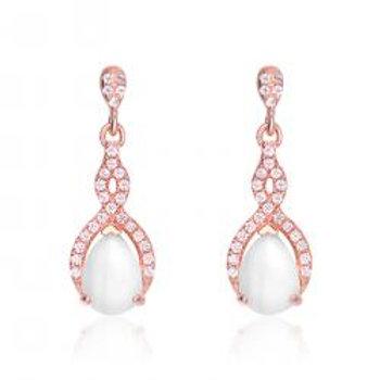 Rose Gold Overlay HowLite Drop Earrings TCE-EAR0121-HL