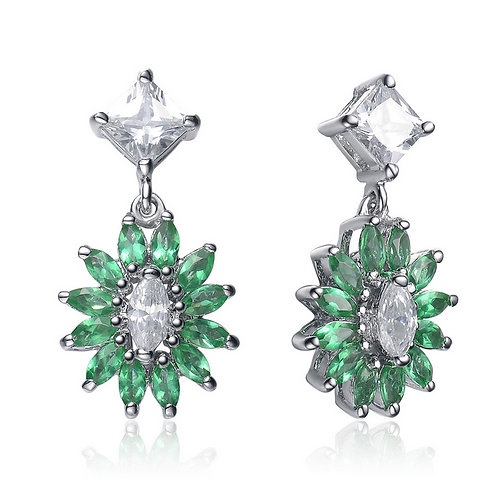 Sterling Silver Platinum Plated Emerald Colored Drop Earrings TE-EAR1089