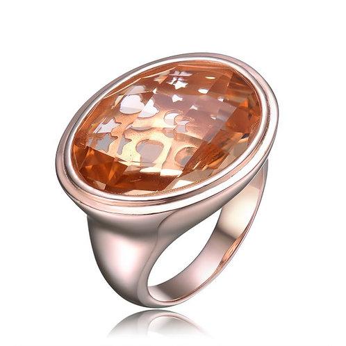Sterling Silver / Rose Gold Plated Morganite Ring CSR-R1632-MOR