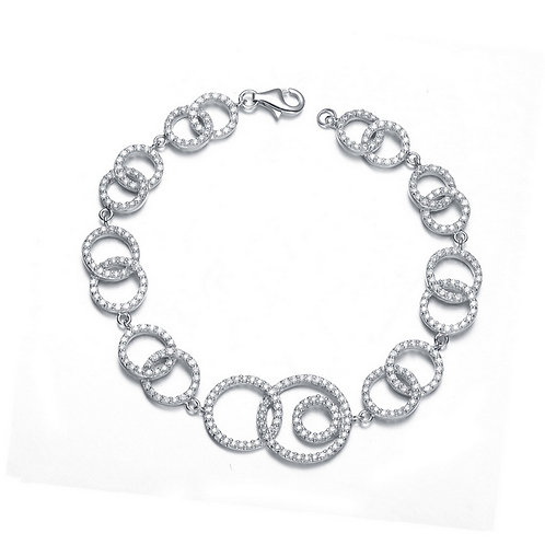 Sterling Silver Open Multi Circle Link Bracelet BR2100