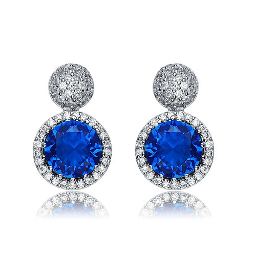Sterling Silver Blue Sapphire Style Halo Earrings TCE-EAR7262-S