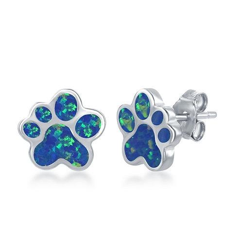 Sterling Silver Blue Inlay Opal Paw Stud Earrings CL-D-6910