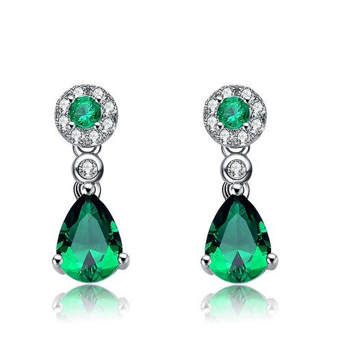 SS/Platinum Plated Pear Shaped Emerald Colored Drop Earrings TE-EAR6224-E