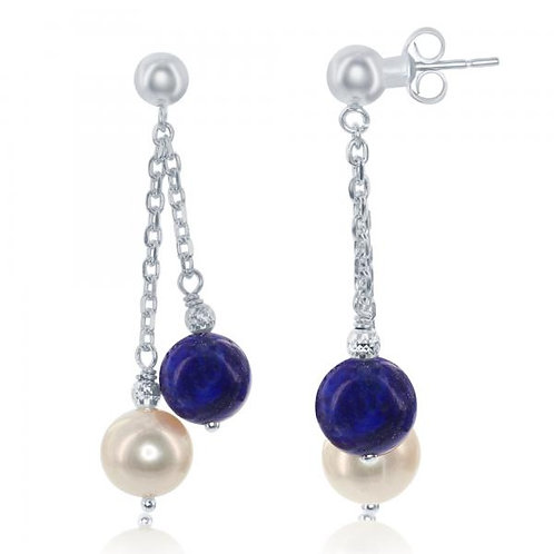 Sterling Silver FWP and Blue Onyx Double Strand Earrings CSE-D-6234