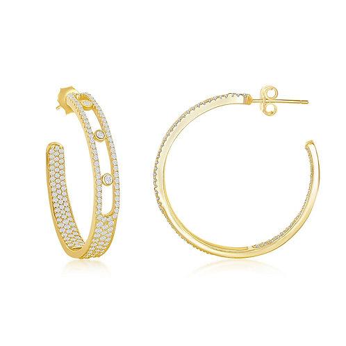 Sterling Silver /GP Pave and Bezel-Set Open Hoop Earrings CSE-D-7419-GP