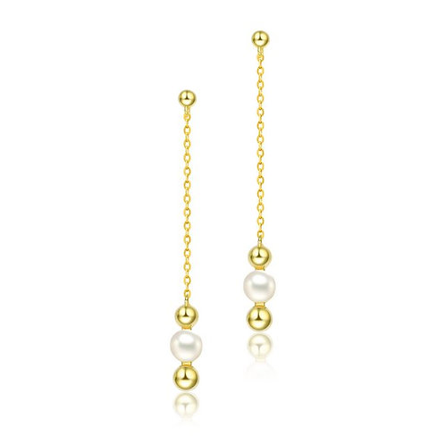 Sterling Silver with Gold Plated and 5.5MM Fresh Water Pearls CSE-FPEAR9546-GP