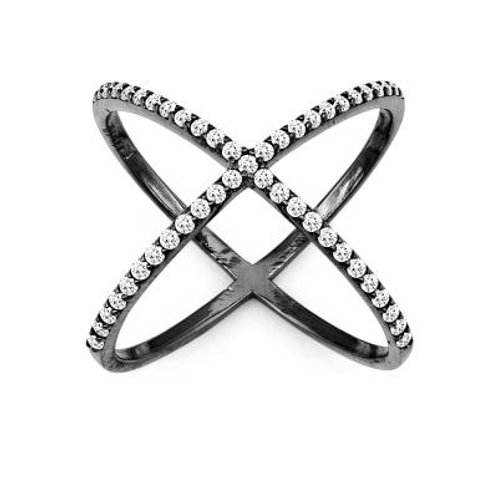 BLACK RHODIUM CZ X RING W-9981