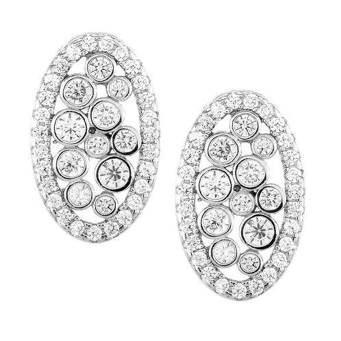 Sterling Silver Oval Bezel Set Earrings CL-D-5432
