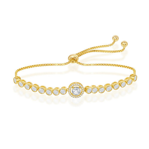 Sterling Silver Gold Plated Round Halo Style Adjustable Bracelet CL-T-7692-GP