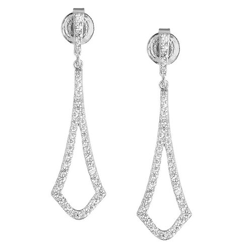 Sterling Silver Open Micro Pave Earrings CL-D-5434