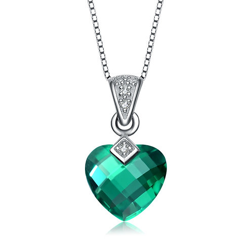 Sterling Silver Simulated Emerald Color Cushion Cut Heart Pendant CSN-PEN0022-E