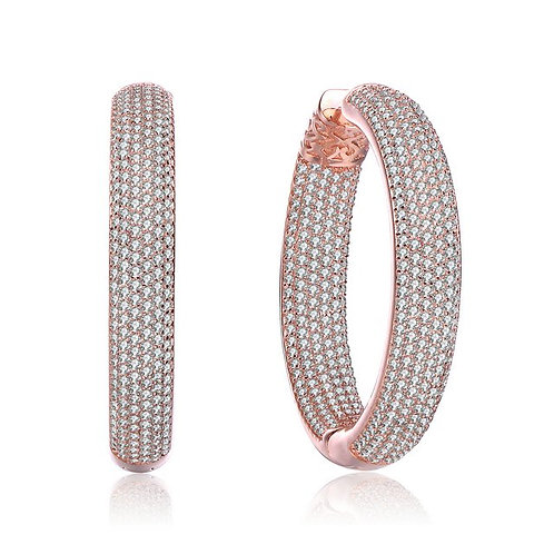 Rose Gold Plated Clear Round Pave Hoop Earrings TCSE-BEAR6507-ROSE