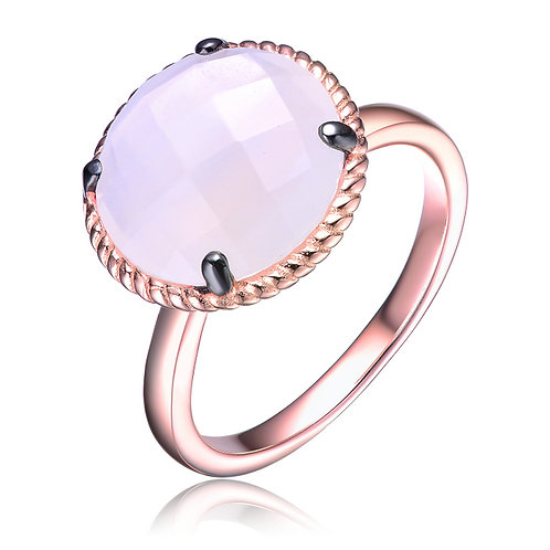 Rose Toned Sterling Silver Rose Quartz Ring CSR-R9920-WC