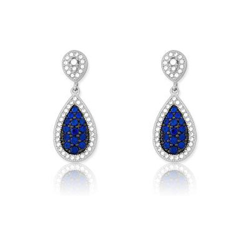 Sterling Silver Tear Drop shaped Sapphire Micro Pave Earrings TCE-D-5184