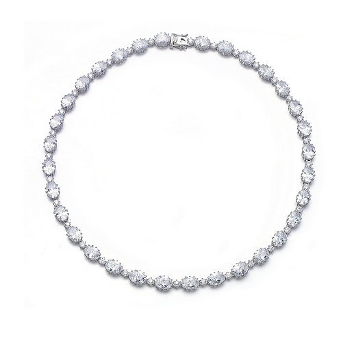 Special 6 Prong Oval/Round Stone Tennis Necklace TCN-NEC2202