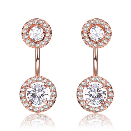 Sterling Silver Rose Gold Overlay Ear Jacket Earrings CSE-EAR8723-ROSE