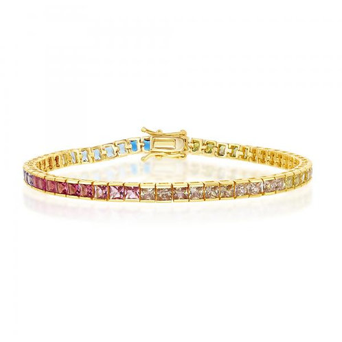 Sterling Silver Gold Plated Rainbow Tennis Bracelet CSB-T-7659-GP
