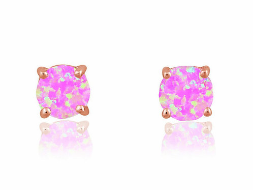 Sterling Silver 6mm Rose Gold Pink Opal Round Stud Earrings CL-D-5828-RG