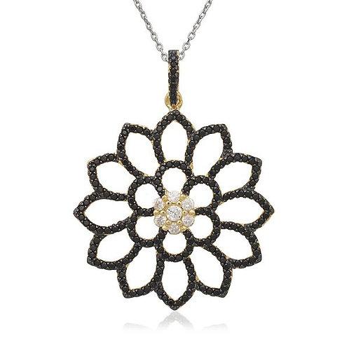 Sterling Silver Simulated Black Diamond Open Flower Pendant CSN-K-7008
