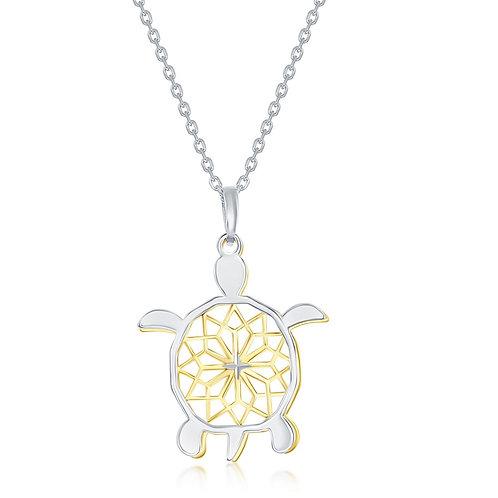 Sterling Silver Two-Tone Fancy Diamond-Cut Design Sea Turtle Necklace CL-L-3969