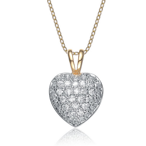 Sterling Silver Pave` Set Puffed Heart Pendant TCN-PEN185-S-GP