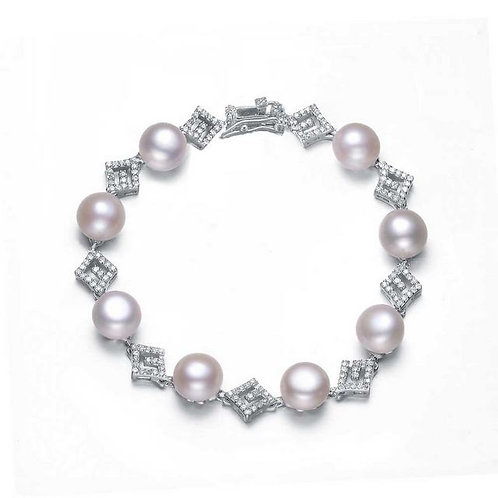 Sterling Silver Cubic Zirconia Pearl Bracelet BR5623