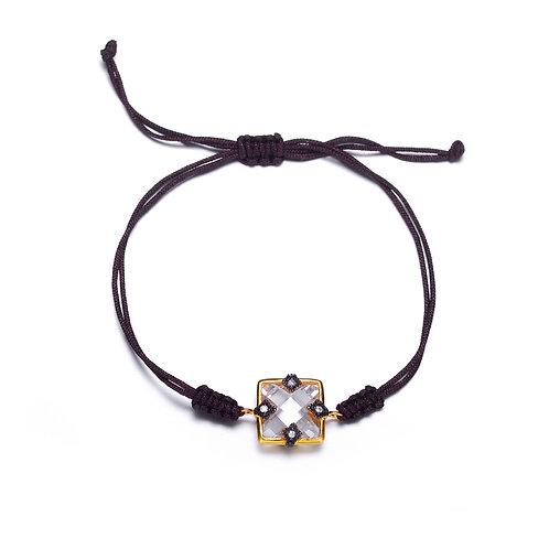 Sterling Silve Black/Yellow toned Black rope Bracelet CSB-BR8240