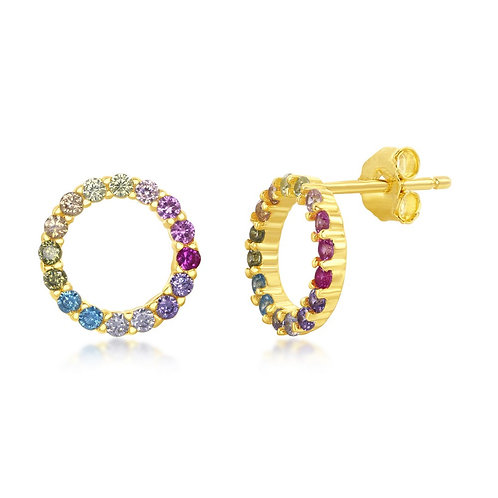 Sterling Silver Gold Plated Rainbow Open Circle Stud Earrings CL-D-7139-GP