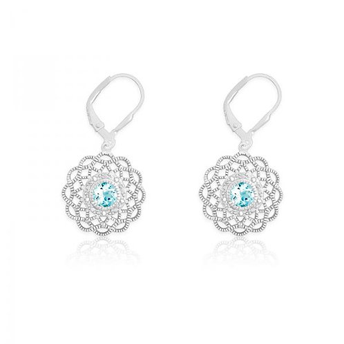 DIA. WITH CENTER BLUE STONE FLOWER SHAPED EAR. D-5107